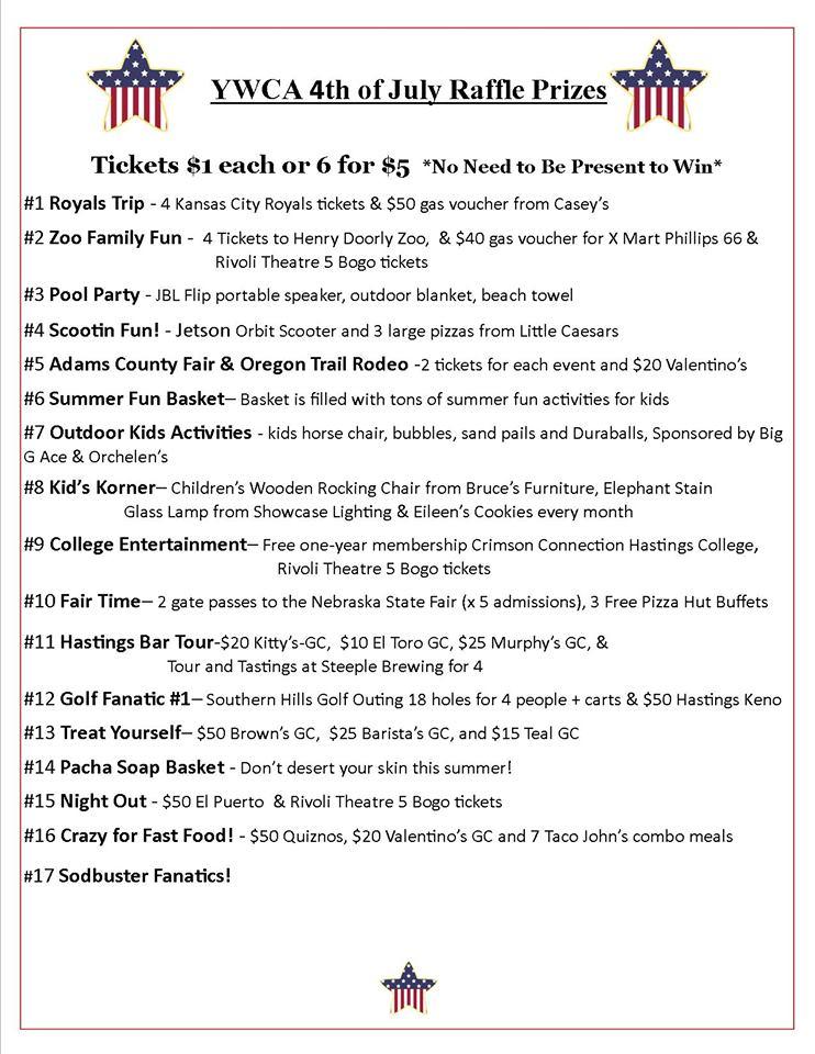 July 4 Raffle Prizes